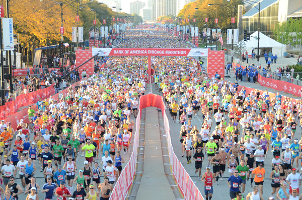 A Maratona de Chicago acontece sempre em outubro. O clima da cidade é imprevisível. Os maratonistas já correram desde um sol de rachar em um ano até temperaturas negativas em outro (Foto: Reprodução Site Oficial)