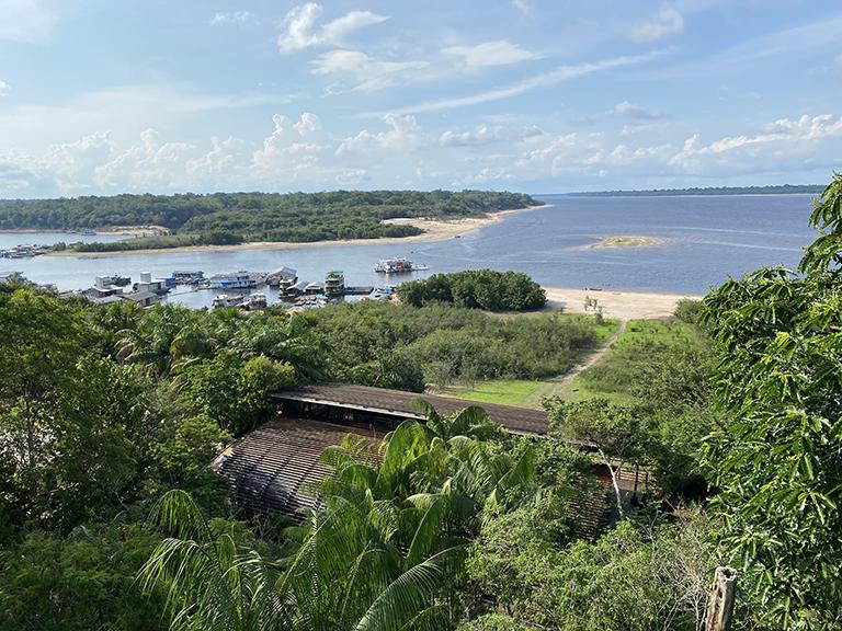 Vista do alto do Mirante do Gavião com o Rio Negro ao fundo (Foto: Daniela Filomeno)