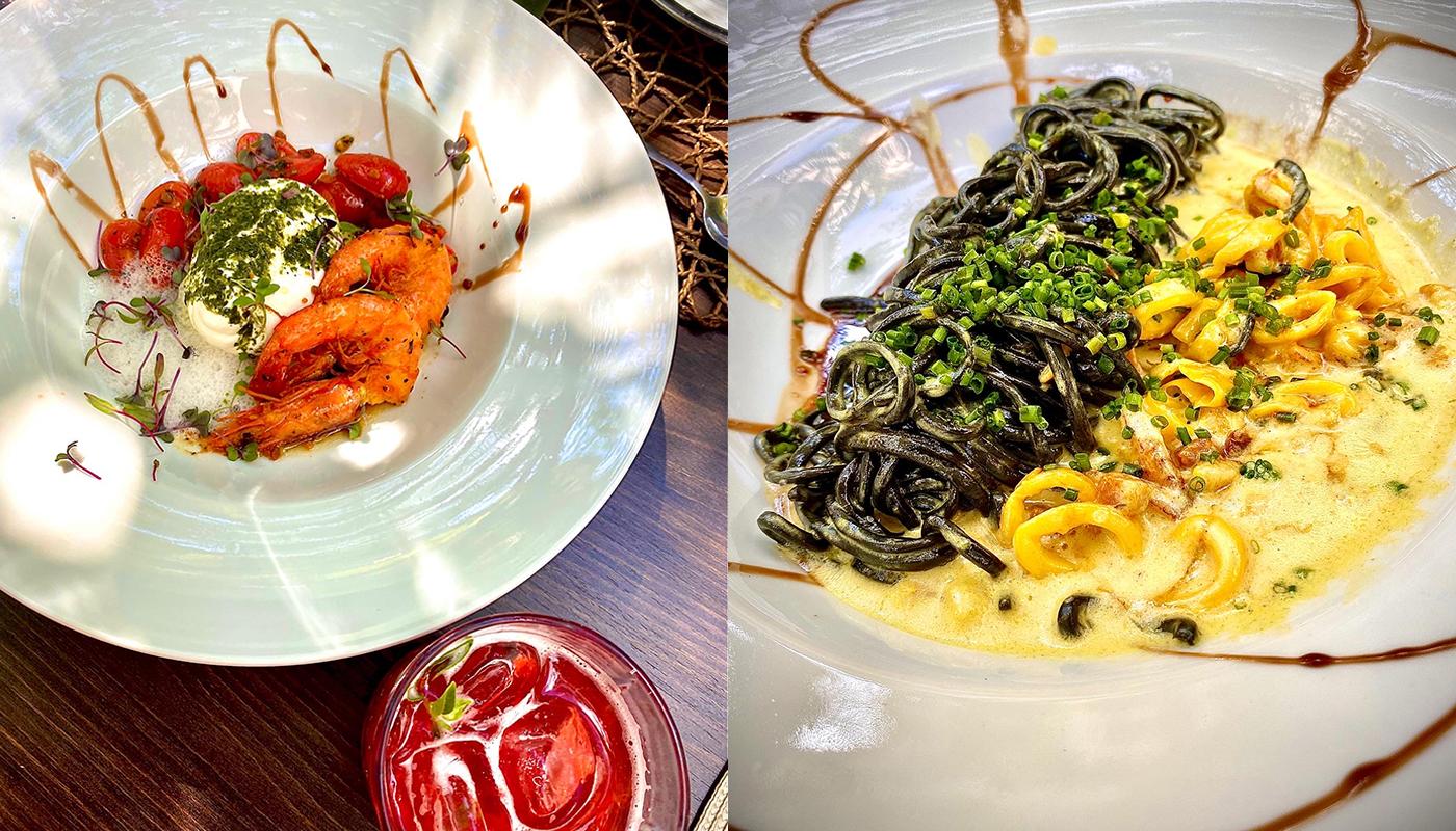 Burrata com camarão e Bottarga e Tagliolini nero de lula à carbonara (Fotos: Tina Bornstein)