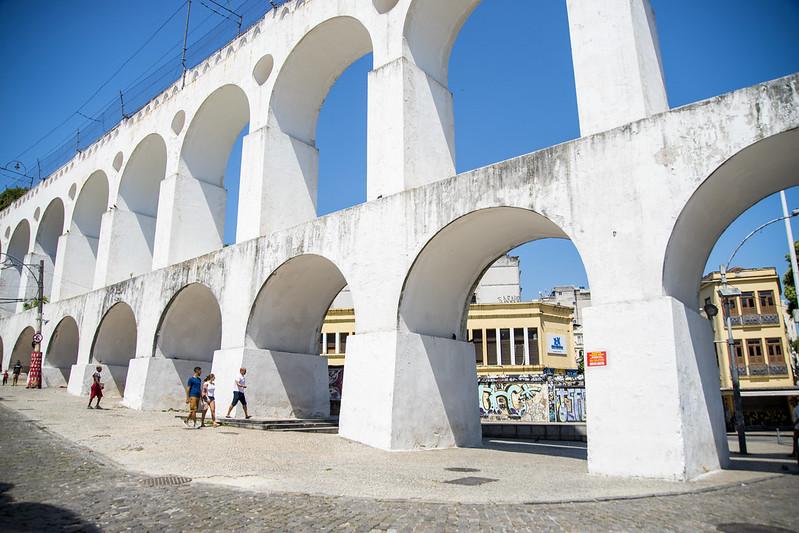Foto dos arcos da Lapa, no Rio de Janeiro