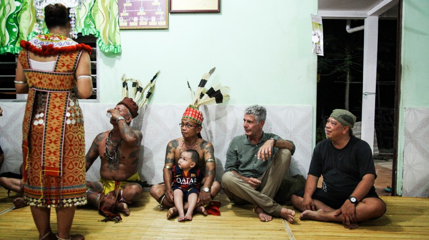 Anthony Bourdain: Parts Unknown - 314 - Borneo  Langkau is passed person to person in the longhouse.