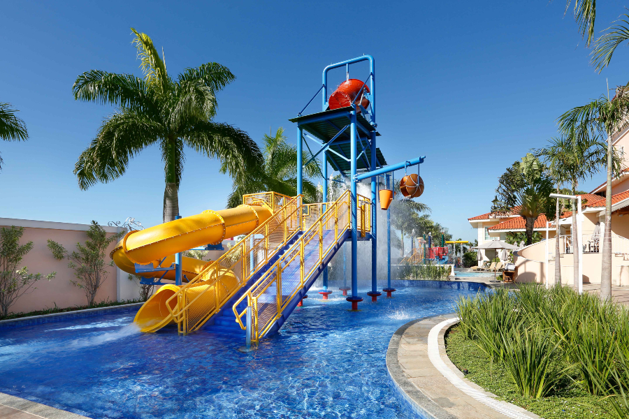 Foto do brinquedão aquático no Royal Palm Plaza, em Campinas