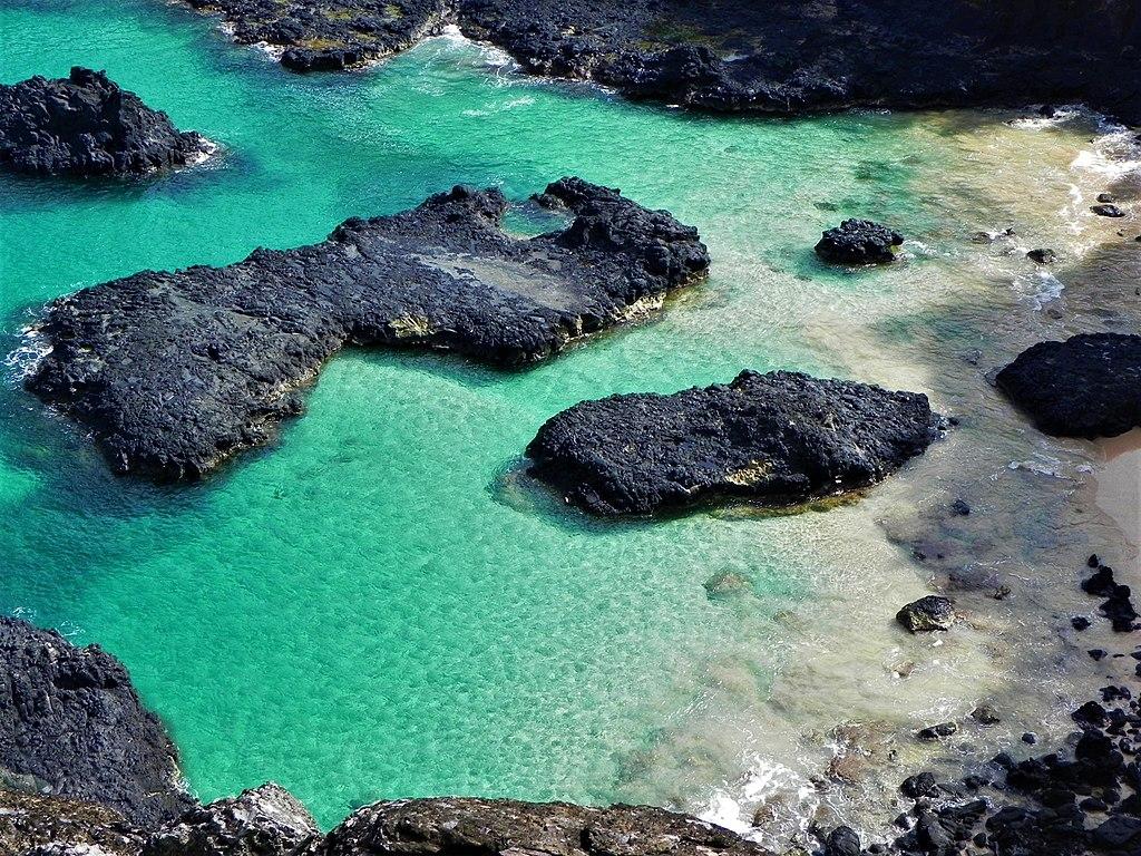Águas azuis da Baia dos Porcos em Fernando de Noronha