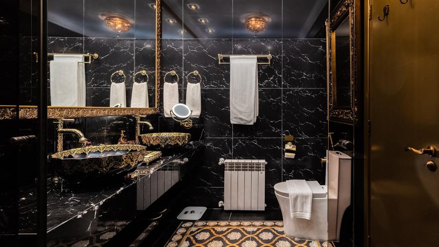 Banheiro da Suíte Imperial do Colline de France, em Gramado
