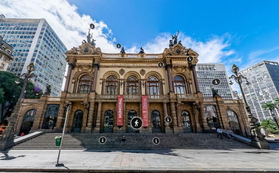 Fachada do Theatro Municipal de São Paulo a partir do tour virtual