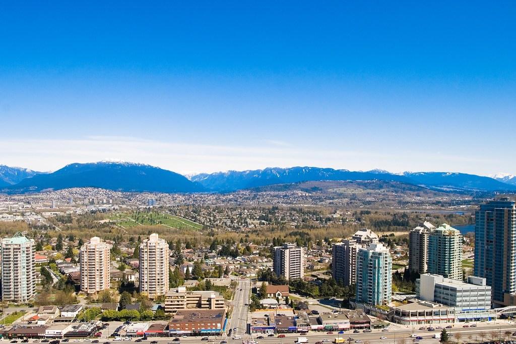 Vista aérea da cidade de Burnaby, perto de Vancouver