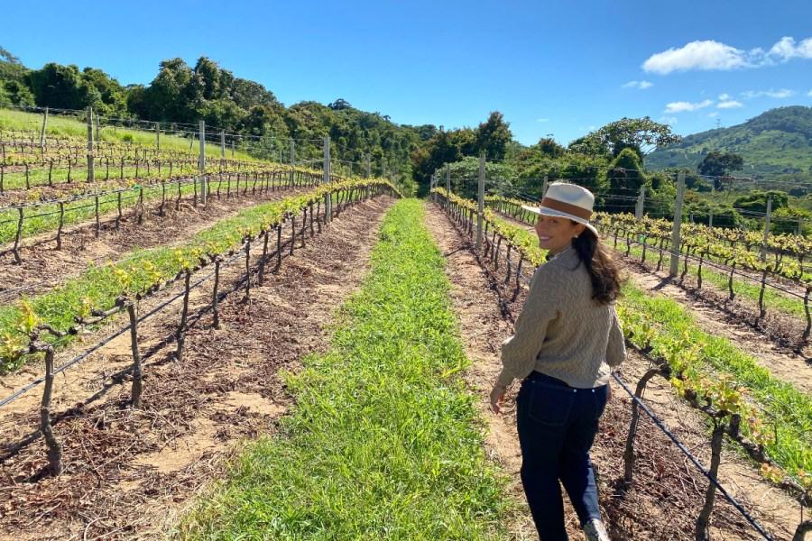 Dani Filomeno na Vista da Serra na vinícola Guaspari