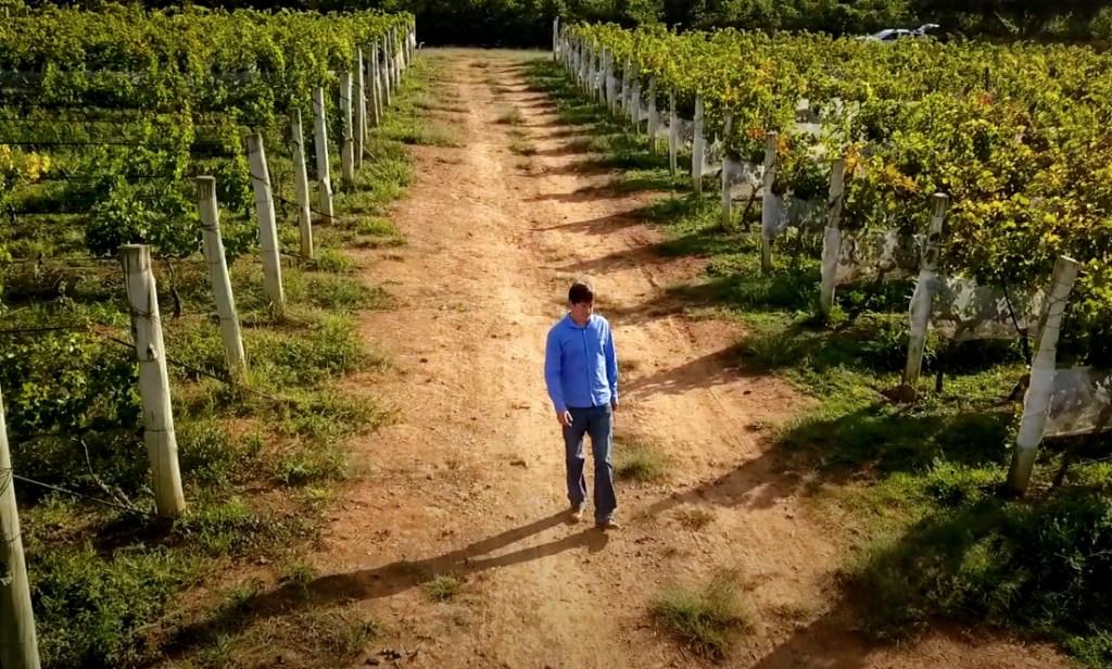 Fundador da vinícola Maria Maria em meio às videiras