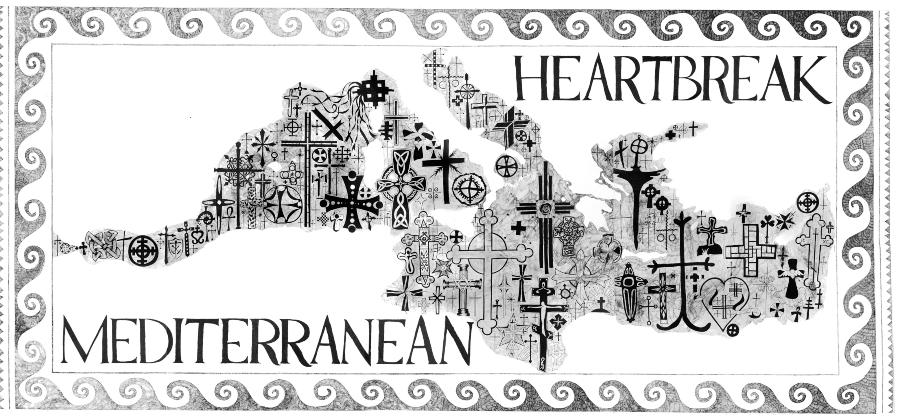 Aleksandra Mir Mediterranean Heartbreak, 2007, caneta Sharpie sobre papel Fabriano 300 por 800 cm