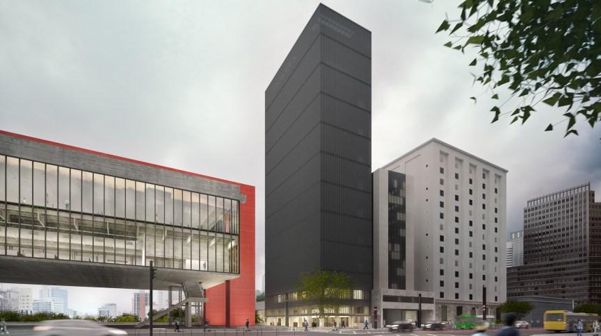 Vista lateral do novo prédio do Masp