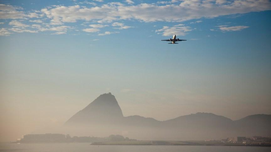 Aircraft takes off from Santos Dumont Airport, Rio de Janeiro, Rio de Janeiro, Brazil.