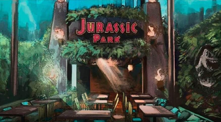 Modelo do icônico portal do filme de Jurassic Park recriado na hamburgueria paulistana.